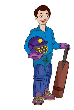 Young Cricket Player with Helmet and Paddle, vector illustration Ilustracja