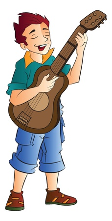 guy playing guitar: Young Male Singer and Guitarist, vector illustration Illustration