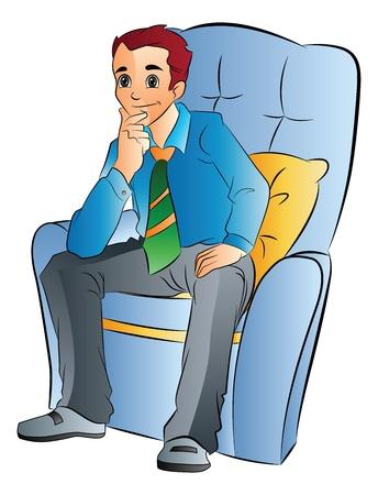 chair vector: Giovane uomo seduto su una sedia morbida, illustrazione vettoriale Vettoriali