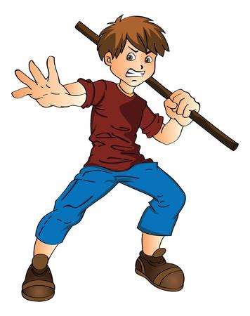 defensa personal: Hombre joven con un palillo, ilustración vectorial Vectores