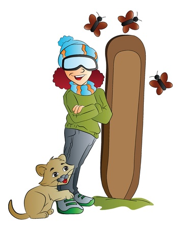 sporting activity: Young Woman Snowboarder with Cat and Butterflies, vector illustration Illustration