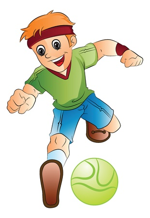 soccerball: Boy Playing Soccer, vector illustration