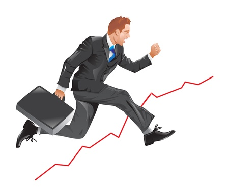 uptrend: Financial success, running man with a briefcase, line graph uptrend, vector illustration