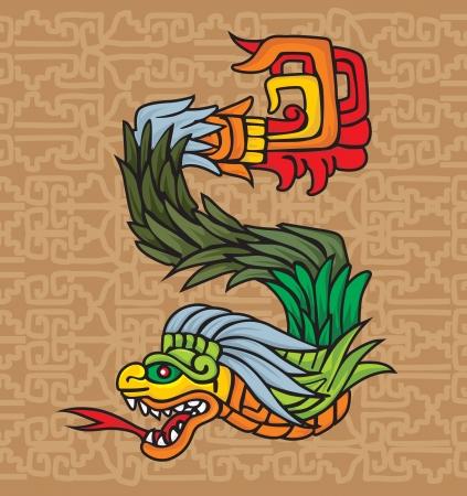 archaeological: Mayan drag�n, ilustraci�n vectorial