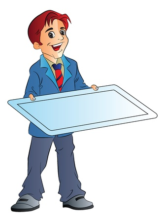 teamsport: Young Man Holding an Illustration Board, vector illustration