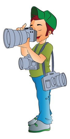 people travelling: Professional Photographer, vector illustration