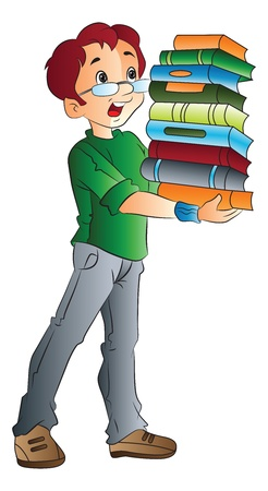Young Man Carrying a Pile of Books, vector illustration