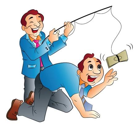 salary man: Fishing for Cash, vector illustration Illustration
