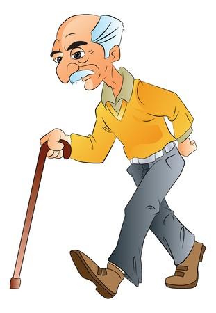 Vecchio a piedi con un bastone, illustrazione vettoriale