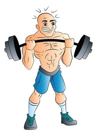 weightlifter: Bald Male Weightlifter, vector illustration Illustration