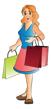 Young Woman with Shopping Bags, vector illustration Vector