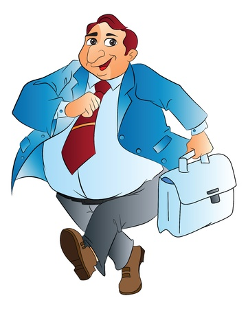 Fat Businessman with Bag, vector illustration Stock Vector - 22066446