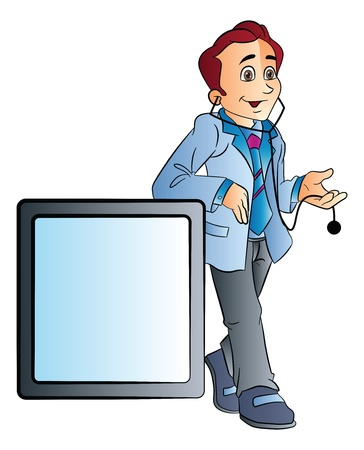 young male doctor: Young Male Doctor Leaning on a Counter, vector illustration