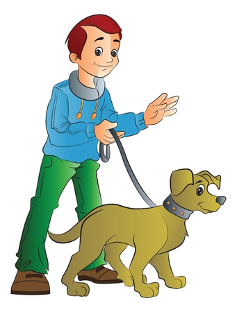 Young Man Walking a Dog, vector illustration