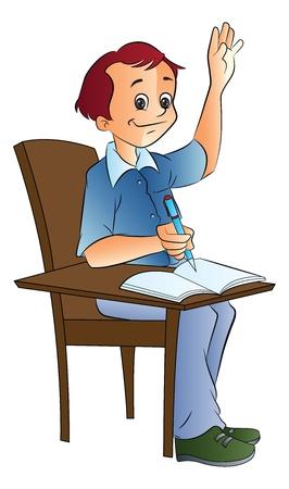 Boy Student Raising His Hand, vector illustration