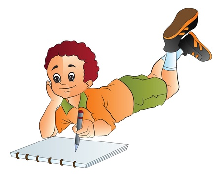 sketchpad: Boy Drawing on a Sketchpad, vector illustration