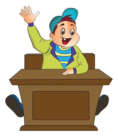 Boy Student Raising His Hand, illustration Stock Vector - 22066457