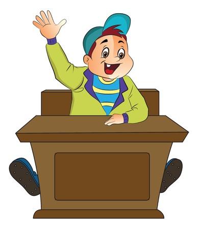recitation: Boy Student Raising His Hand, illustration