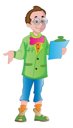 Young Male Supervisor with a Clipboard, vector illustration