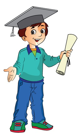 Boy Graduate Holding a Diploma, vector illustration