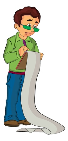 checklist: Man Holding a Clipboard with Continuous Printout, illustration