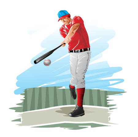 hitter: Baseball player, batter, vector illustration