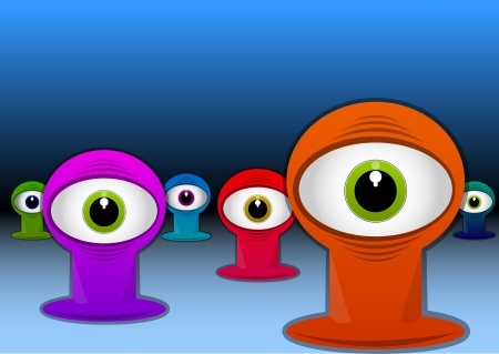 lifeform: Colorful One-eyed Creatures, Red Blue Green Purple Monsters, Big Alien Eyes, vector illustration