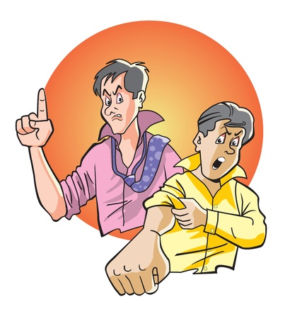 rolledup sleeves: Angry men, with rolled-up sleeves, vector illustration