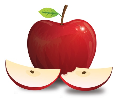 bitten: Apple, Fruit, Red, with Stem Leaf Seeds, Whole and Sliced, Bitten, vector illustration