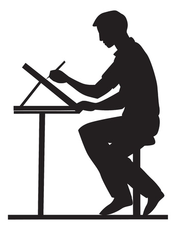 Artist, side view, using a pencil and drawing board, sitting at a table, vector illustration Çizim