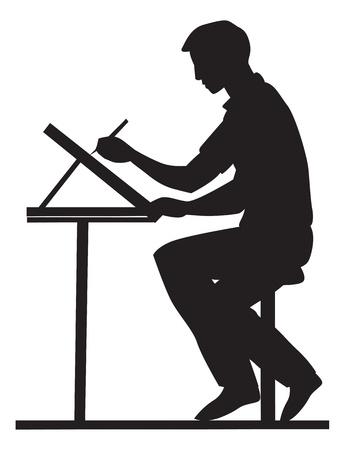 Artista, vista lateral, usando un lápiz y un tablero de dibujo, sentado en una mesa, ilustración vectorial
