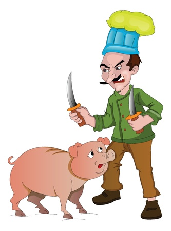 slaughter: Chef with Knives to Cut Up a Pig, vector illustration Illustration