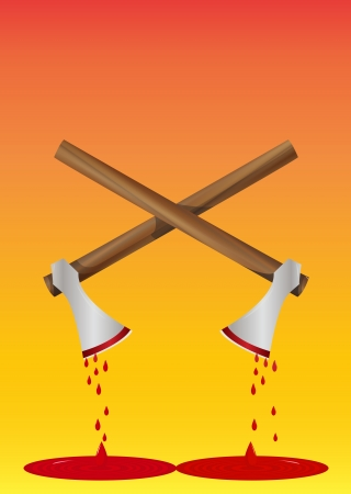 Bloody Axe, Pair, Blood Dripping, vector illustration Vector