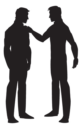 homosexual: Silhouette of two men talking, black, vector illustration