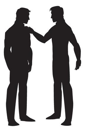 talking: Silhouette of two men talking, black, vector illustration