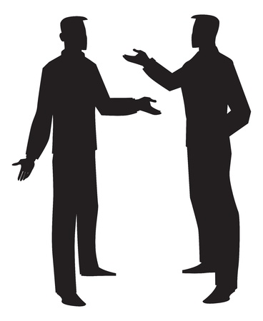 argument from love: Silhouette of two men talking, black, vector illustration