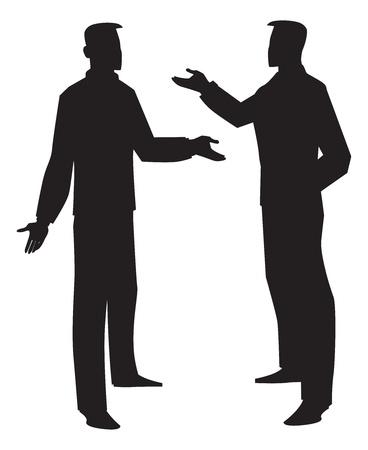 pareja discutiendo: Silueta de dos hombres hablando, negro, ilustración vectorial Vectores