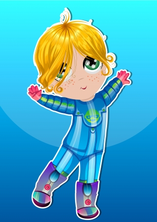 Baby, in an Blue Astronaut Suit, Dancing, Blonde Hair, Green Eyes, vector illustration Stock Vector - 22066552