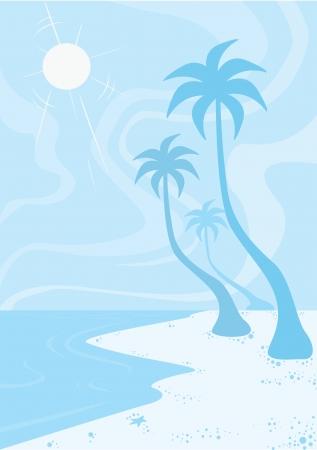 sea shore: Beach, in Blue, Sun Sand Surf, Coconut Trees, vector illustration