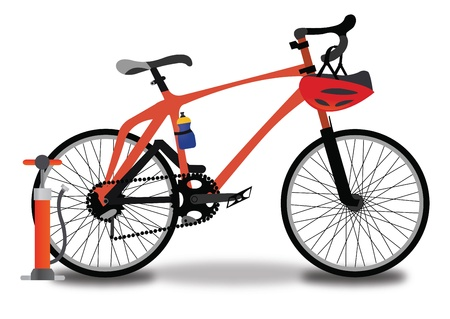 Racing Bicycle, Red and Black, with Tire Pump, Helmet, and Water Bottle, vector illustration