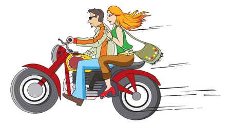 Bike Ride, Couple on a Motorcycle, vector illustration Illustration
