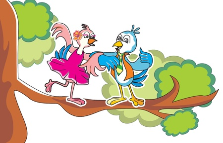 inlove: Bird couple in-love, dancing on a tree branch, vector illustration