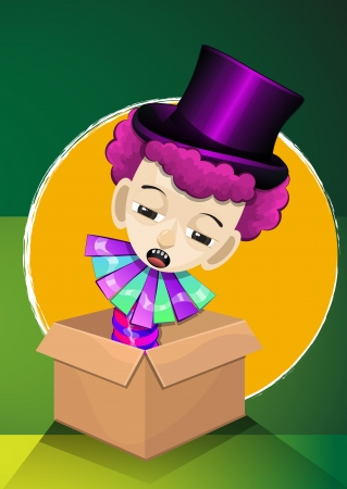 hid: Jack in the Box, Boy with Pink Curly Hair, with Purple Magicians Hat, vector illustration