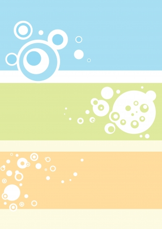 Circles and bubbles in blue green and yellow, abstract, vector illustration