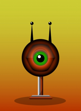 the antennae: One-Eyed Creature, Red Monster, Big Alien Eye with Antennae and Stand, vector illustration