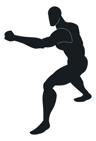 Martial Arts, Black Silhouette of a Man, Punching, Stance, vector illustration
