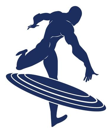 avenger: Capitán América, Silueta azul de un hombre, que lanza un escudo redondo, ilustración vectorial
