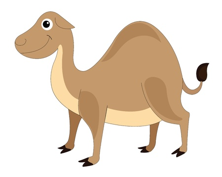 hump: Cute brown smiling camel with one hump, vector illustration