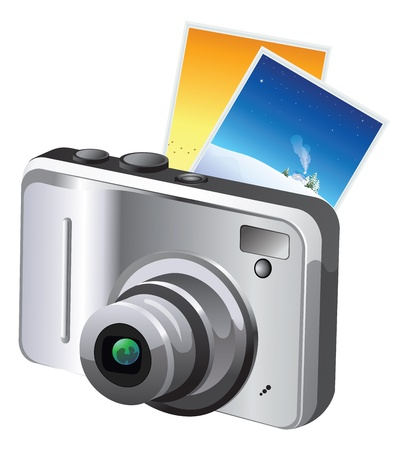 Digital Camera, Gray and Black, with Photos, vector illustration