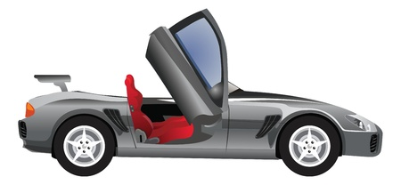 fast car: Sports Car, Convertible, Gray Silver Black, with Red Seats, vector illustration